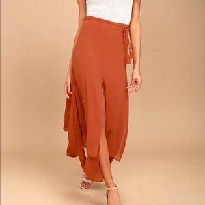 NWT Breeze Away Rust orange midi skirt L